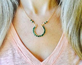 Green Onyx Lucky Horseshoe Necklace