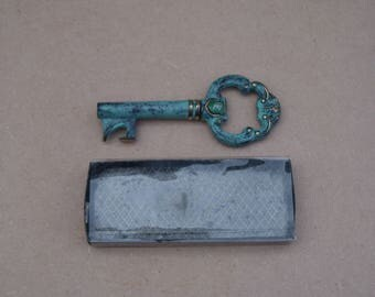 Brass Key Shaped Bottle Opener - Verdigris Effect - Vintage Brass