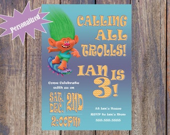 Trolls Boy Birthday Invitation