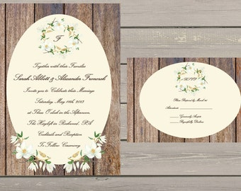 Magnolia and Antique Wood Wedding Invitation - Printable