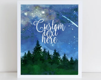 Personalised print,Quote printable,Quotes in spanish,blue sky night stars,Inspirational Quote,Custom Quote wall art,Mountain, Forest