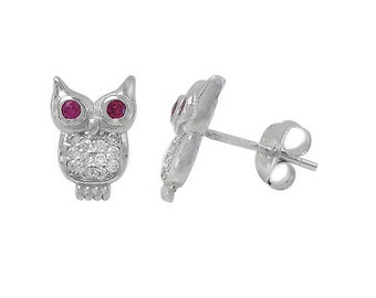 Rhodium plated on Sterling Silver, owl stud earring with faceted stone Cubic Zirconia . Approximate size: 11mm L x 7mm W.