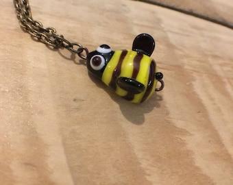 Artisan Lampwork Glass Bumble Bee Necklace Charm Pendant