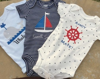 Nautical Theme/ Baby Boy baby shower gift/sailing/Set of Three/ Onesie Gift Set/0-3 months