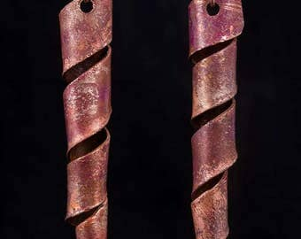 Copper twirl earrings with red patina