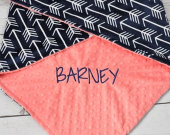 Minky adult blanket - Personalized arrow adult minky blanket - Arrow throw blanket - Navy Blue adult minky blanket - Minky blanket adult