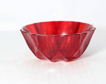 Utility Bowl Plastic Ruby Red Dish made in Germany