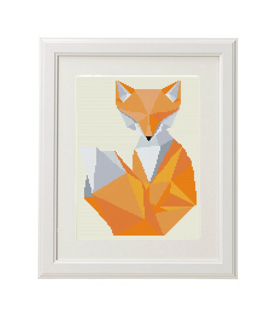 Geometric fox cross stitch pattern pdf instant download