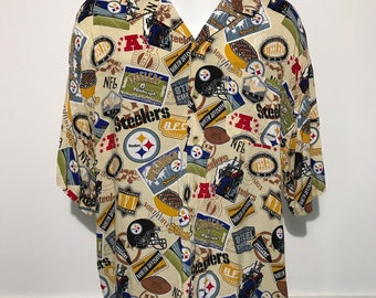 Vintage Pittsburgh Steelers All Over Print Buttonup XXL