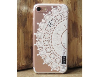 TPU White Mandala Case for iPhone 5 / 5S / SE + 6 / 6S / 6 PLUS & 7 | Transparent Aztec Pattern | Clear White Flower iPhone 7 Plus Cover
