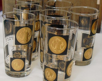 Vintage Barware, Clear Glass, Black and Gold Coins, Set of 7, Cocktail Drinking Glasses, 10 Ounce Capacity, Vintage Barware and Cocktail