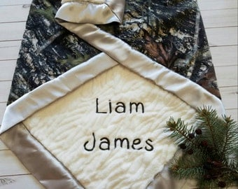 Camo Baby Blanket, Personalized Baby Blanket, Baby Boy Blanket, Hunting Baby Blanket, Woodland Nursery Bedding, Woodland Crib Bedding