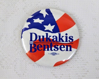 "Political Dukakis/Bentsen  Pin Back BUtton  ""1988"""