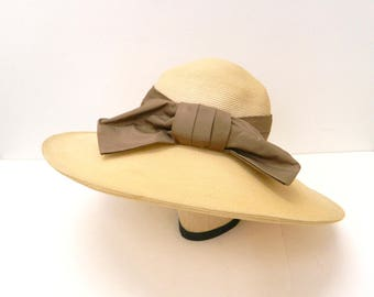 Vintage 1950s Sun Hat...Wide Brimmed Brown Hat w/ Brown  Bow Sash...Original Roberta Bernays...Floppy Beach Hat...Derby Hat...Garden Hat