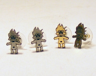 Troll Doll Jewelry, Troll Earrings, Gold Tone w/Gold Tone Troll Doll, Silver Tone w/Silver Tone Troll
