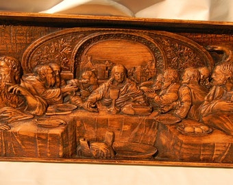 Beautiful 12.5 X 28 X 2 Carving of the last Supper.