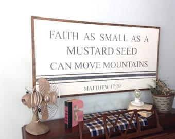 Faith as small as a mustard seed | 4'x2' | Matthew 17:20 | scripture art | custom sign | gallery wall | Christian sign