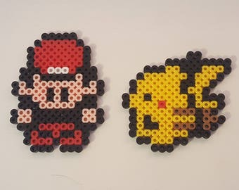 Kids Art Crafts DIY Kit Hobby - Hama Beads Pokemon Ash and Pikachu Magnet, Keyring or Completed Sprite