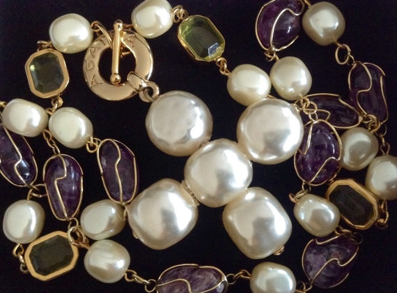 Beautiful vintage Agatha white pearl cross pendant, long collier with open back bezel