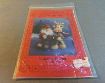 "Christmas Decor Dolls, Santa and Reindeer, Yuletide Friends, 12"" Sitting by Stuff N Stitches. 1994"