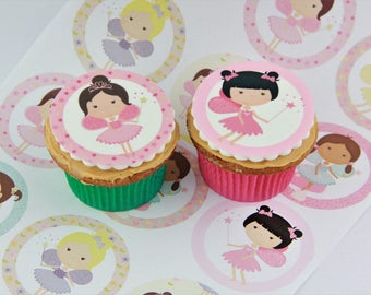 Fairy edible Cake Toppers or Party Favours, a variety of 12 fairies, decorations
