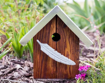 whimsical feather birdhouse with galvanized metal roof and recycled wood