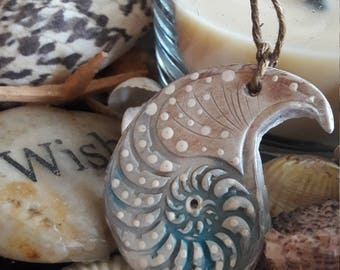 Amonite clay pendant necklace