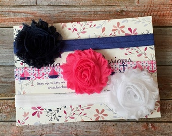 3 Baby Headbands/Baby Headbands/Headband Set/Baby Headband Set/Newborn Headband/Infant Headband/Baby Shower Gift/Headband Gift Set/Nautical