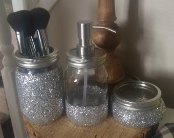 3pc Silver Glitter Mason Jar set