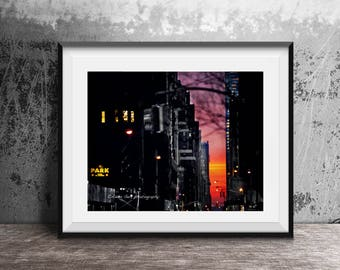 New York City,Manhattan, sunset, Urban landscape,Wall Art,Wall Decor,Photography