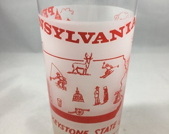 Vintage Kitsch Mid Century Frosted Red and White Pennsylvania The Keystone State Souvenir Glass