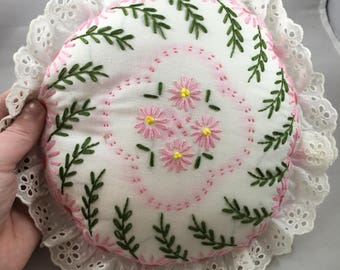 Vintage Small Circular Hand Embroidered Pink and Green Flowers and Leaves Ruffled Edge and Pink and White Checked Back