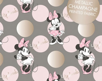 """End of Bolt, Dark Gray Metallic Minnie Mouse Jumbo Dot from the Minnie Mouse Metallic Collection by Camelot Fabrics 18""""x44"""""""