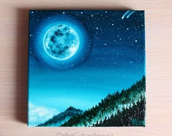 """Night sky painting Starry sky Full moon Oil painting on canvas Moon painting Star art Moonlight painting Home decor Gift ideas Size 6x6"""""""