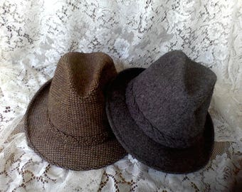 2 Men's Hats, Size 7 3/8  Stetson,  Charcoal, brown tweed,