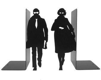 "Pair of large black bookends ""Secret Agents"""