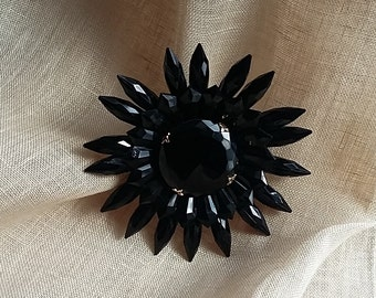 """Vintage Very Large 4"""" Floral or Rayed Brooch Black Lucite w/ Black Glass Center"""