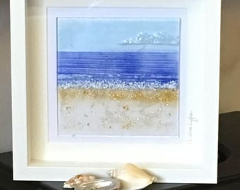 Seaside Abstract Picture, Glass Seascape Wall Hanging, Glass Art, Home decor, Wall Art, Bathroom Art, Gift for them, Wedding Gift