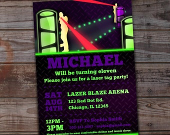 Laser Tag Birthday Invitation, Digital Party Invitation, You Print