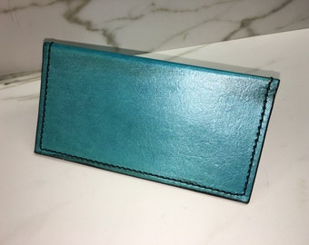 Turquoise Pearl Leather checkbook cover