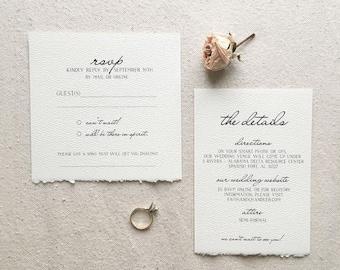 Minimalist Deckled Edge Wedding Invitation // Wedding Invite // Simple Invitation // Deckled Edge
