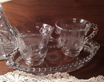 Vintage Imperial glass Candlewick Hughes Cornflower etch oval dish creamer and sugar set