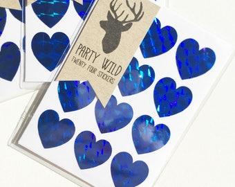 Mini Heart Stickers Pk24 - Holographic Blue