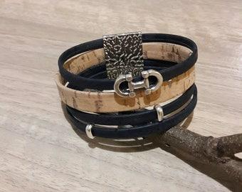 Blue JAWS natural cork leather strap horse Vegan
