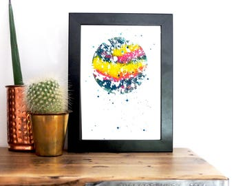 Painterly Ebru Planet Mini-Monoprint : silkscreen printed by hand- space, astronomy, astrology, fantasy!