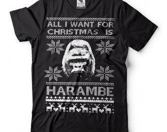 Harambe T-Shirt Funny Ugly Christmas Sweater T-Shirt Harambe RIP Meme T-Shirt
