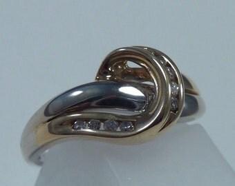 10K Yellow and White Gold Diamond Ring, 3.3 grams, size 6.5