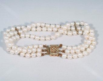 """14K Yellow Gold Triple Strand Pearl Bracelet , 6.5"""" long"""