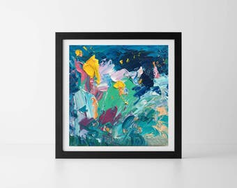 Abstract Flowers Painting Abstract Art Blu Flowers Oil Painting Floral Home Decor For Living Room Bedroom Office Gift for Her Gift For Mom