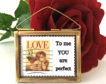 To Me You Are Perfect - Love Token - Valentines Day Gift - Love Actually - Love Postage Stamps - Valentines Day Decor - Love Poems -Love Art